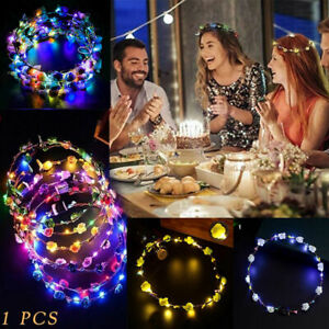 Wedding-Xmas-Party-Crown-Flower-Headband-LED-Light-Up-Hair-Hairband-Garlands