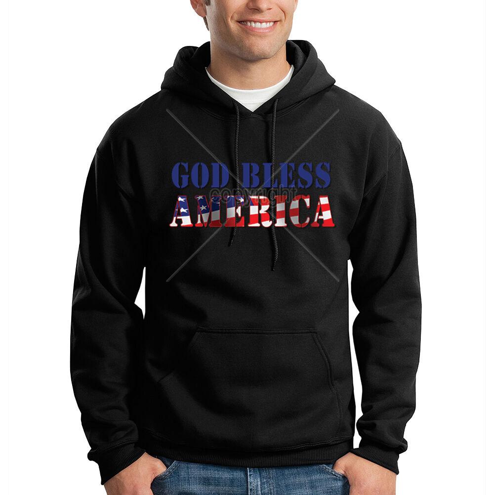 God Bless America USA Flag United States Patriotic Hooded Sweatshirt Hoodie