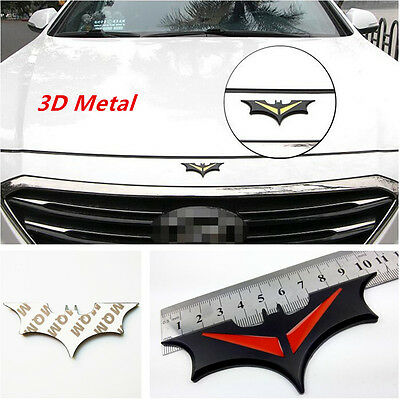 New Style 3D Metal Bat Auto Car Sticker Batman Badge Emblem Tail Decal Black//Red