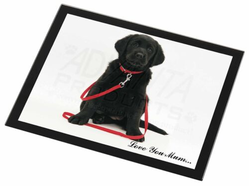 Black Goldador Dog 'Love You Mum' Black Rim Glass Placemat Animal T, ADL87lymGP