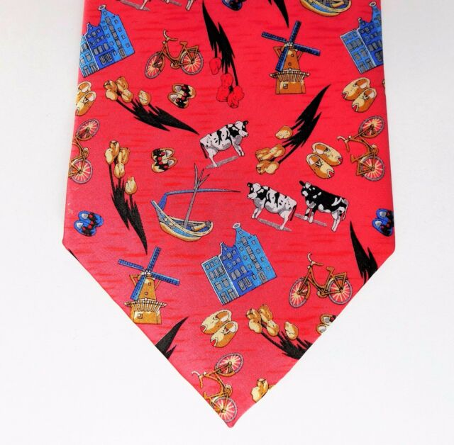Robin Ruth pure silk tie novelty Holland Dutch windmill tulips clogs cows Europe