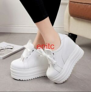 Womens-Platform-Wedge-15cm-Heel-Lace-Up-Pumps-Casual-Sneakers-Creeper-Shoes-SZIE