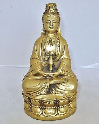 """Antique Chinese Brass Seated KWAN-YIN on Lotus Blossom with Vase  (6.8"""" tall)"""