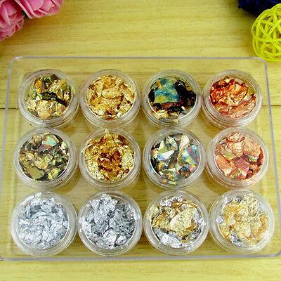 12 Pot Nail Art Gold/Silver Foils Tip Decoration Paillette Flake Glitter Decors
