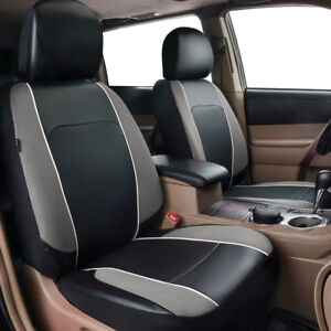 Universal-2-Front-Car-Seat-Covers-Grey-Leather-Mesh-Breathable-for-SUV-VAN-TRUCK