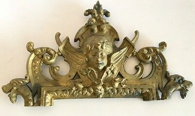 Vintage Old Hardware Cast Brass Bronze French Lady Figure Furniture Plaque Plate