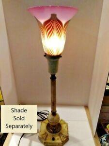 VINTAGE ART DÉCO ARTS & CRAFT Shabby Chic Lampe Base 1900-1940 abat-jour en verre en option