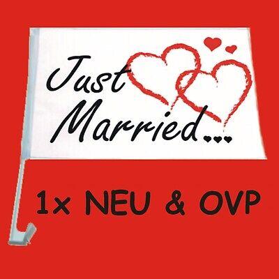 "10x Autofahne /""Just Married/"" Auto Fahne Flagge Liebe Hochzeit Justmarried Love"