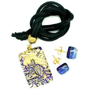 Conjunto-de-colgante-y-pendientes-de-cristal-de-Murano-Azul-Oro-Venecia