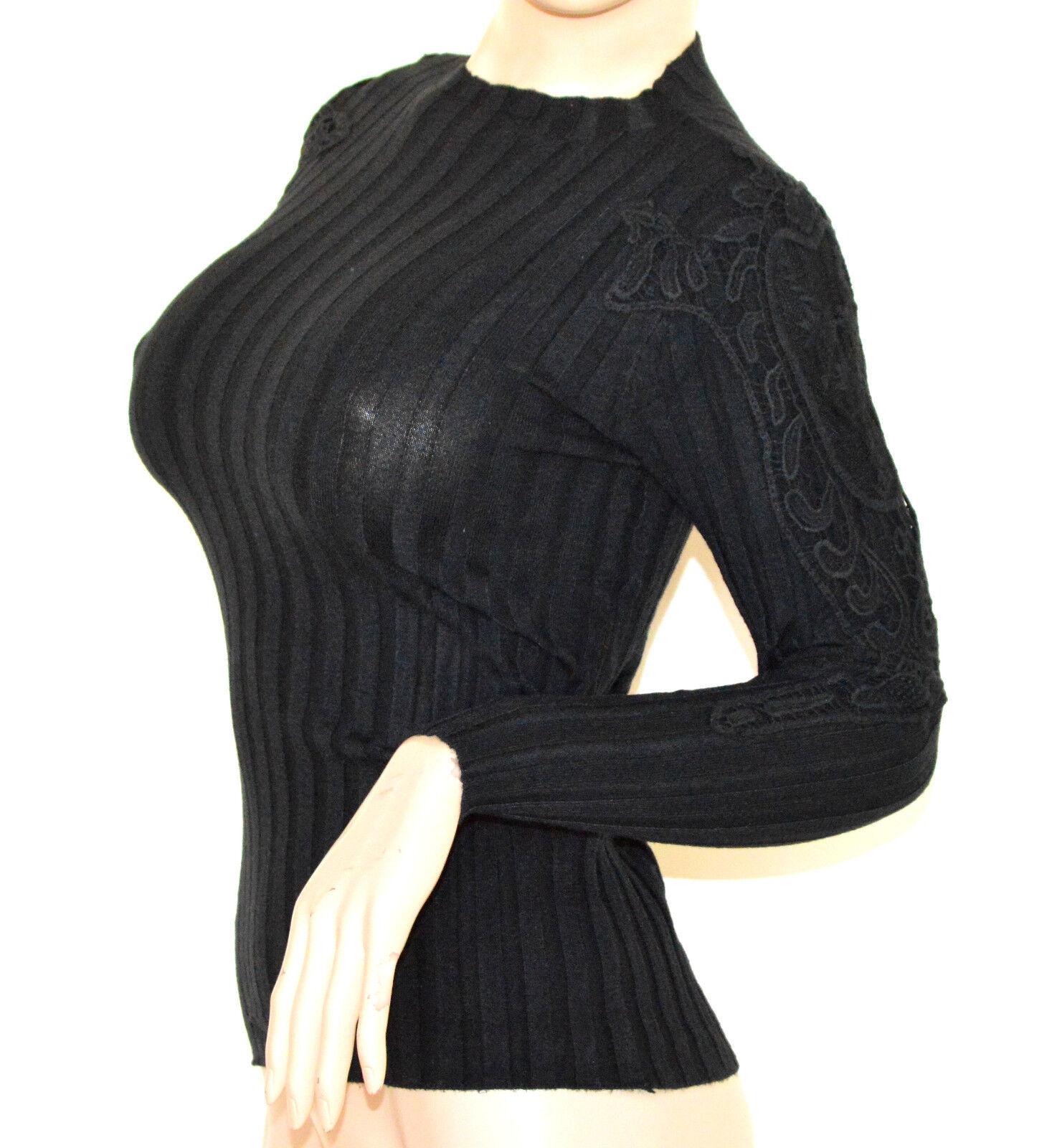MAGLIETTA NERA donna maglione manica lunga ricamata sottogiacca girocollo A23