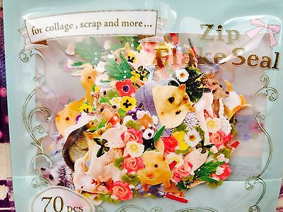 Pretty Forest Animals STICKER FLAKES 70 Pcs