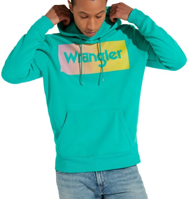 WRANGLER Retro 80s Men Big Logo Hooded Sweatshirt Spectra Green Sweat Top Hoodie