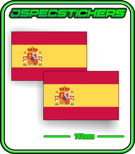 SPAIN SPANISH FLAG STICKER VINYL DECAL COUNTRY WINDOW BUMPER x2 140mm BNIP