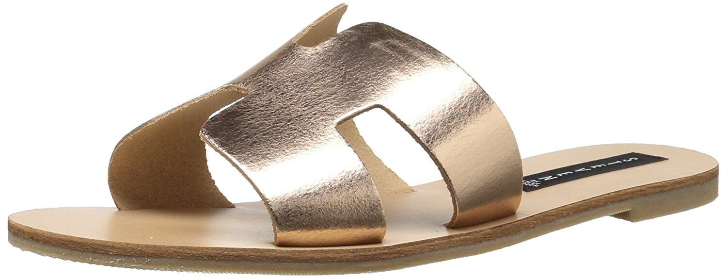 Steven by Steve Madden Greece Flat Sandals Slides pink gold Leather Size 7.5