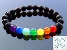 Black Lava Chakra Natural Gemstone Bracelet 7-8'' Elasticated Healing Stone