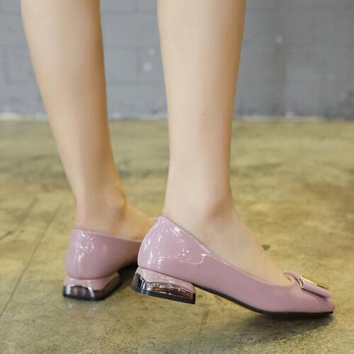 Ballerine Low Scarpe Leather da Shiny Mocassini donna Confortevole Pink Like 8402 FqrRHFw