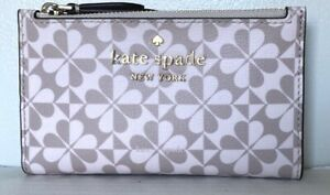 New-Kate-Spade-Hollie-Spade-Clover-Geo-small-Slim-Bifold-wallet-Leather-Pink