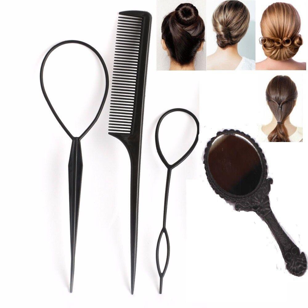 4 Pcs Styling Clip Bun Maker Cheveux Twist Tresse Queue De Cheval Outil Accessoires Miroir Apparence EsthéTique