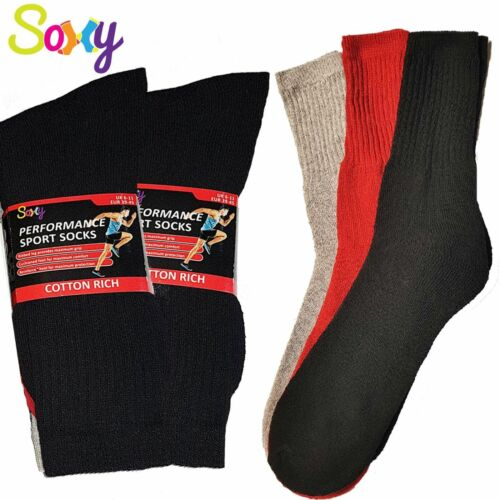 Soxy® 12 Pairs Men/'s Cotton Rich Red Black Grey Assorted Sports Socks Size 6-11