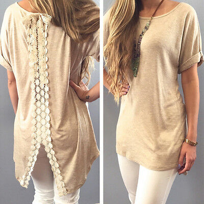 1Pc Fashion Women Summer Vest Short Sleeve Blouse Casual Tank Tops T-Shirt Lace