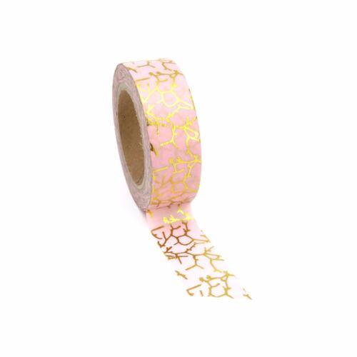 Planner Washi Tape Gold Foil Piink Crackle15mm x 10m