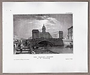 St-Petersburg-Teilansicht-mit-der-Kasan-Kirche-Stich-Stahlstich-1850