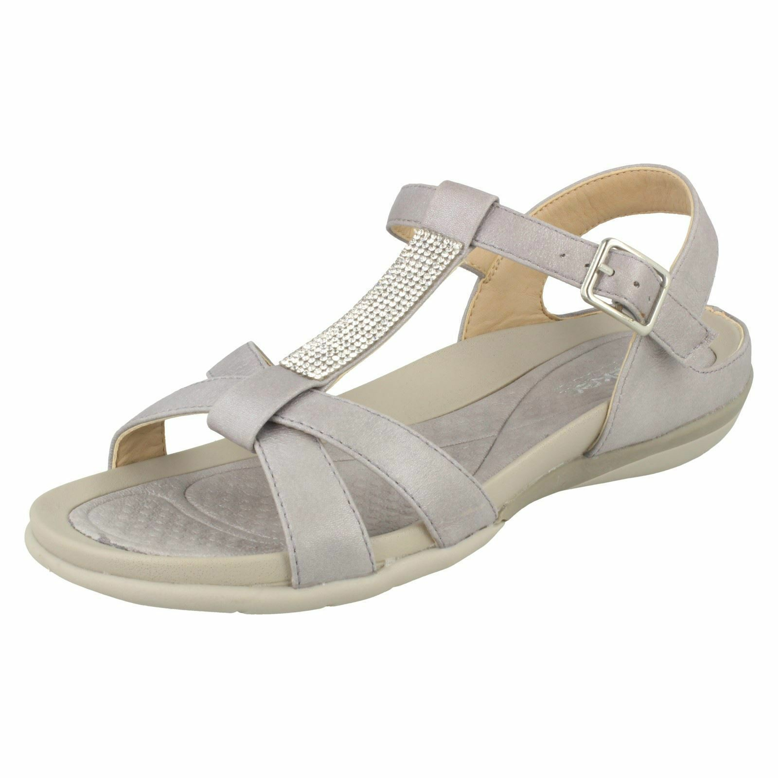 Ladies Rieker V9463 Grey Synthetic Synthetic Synthetic Strappy Casual Sandals 413fe5
