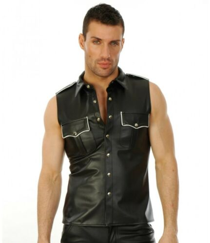 New Genuine leather MILITARY SHIRT WITH PIPING Roleplay Sleeveless Fetish Gay