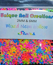 STAR HOLLOW~MIX NEON!MULTI SIZES GLITTER~Nail•Acrylic•Gel•Body Art•Face•Festival
