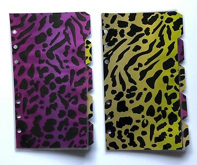 Bright Gold Leopard Print Dividers Fully Laminated Filofax Personal Planner