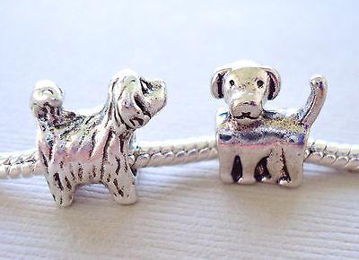 Set of two DOG Charms Large hole  Beads Fits European style Bracelet  C41