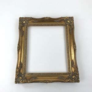Vintage Gesso Picture Frame Solid Wood Gold Gilt Wall Hanging NO Glass Included