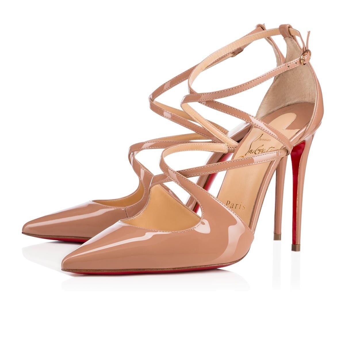 NIB Christian Louboutin Crossfliketa 100 Nude Patent Strap Sandal Heel Pump 39