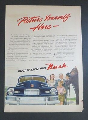 Advertising-print Advertising Original Print Ad 1946 Picture Yourself Here Nash Auto Car To Win A High Admiration