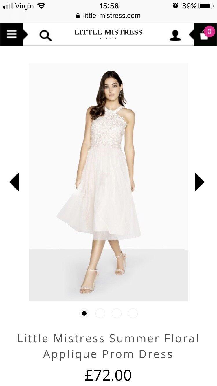 Little Mistress Summer Floral Applique Prom Dress. Size 8