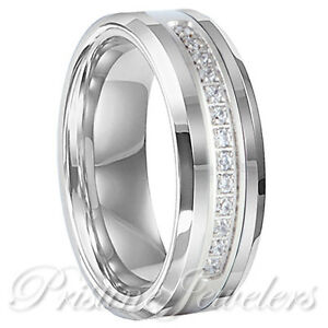 NEW-Tungsten-Carbide-13-CZ-Stone-Silver-Men-Wedding-Engagement-Band-Promise-Ring