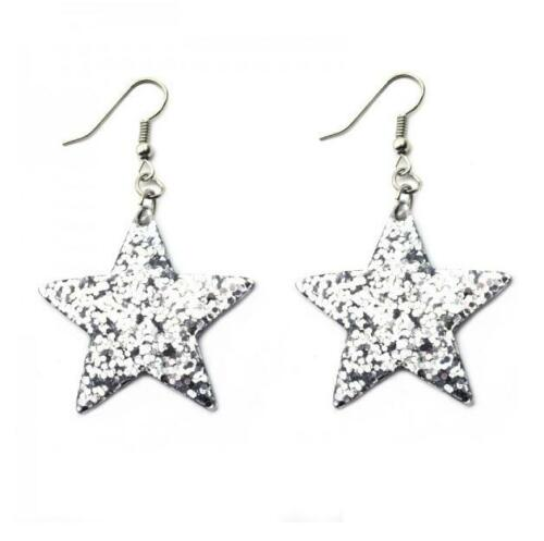 Clásico De Navidad Brillante Brillo grandes Estrella de Plata Pendientes Colgantes