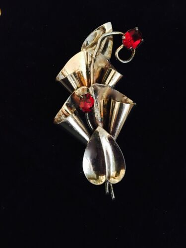 925 Sterling Silver Jewelry Vintage Bow red stone gold vermeil  circa  pin brooch  Art Deco Modernist st560