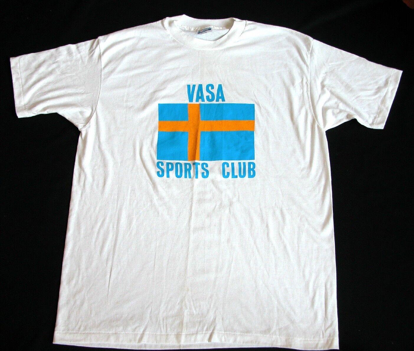 Vtg 80s Sweden VASA Sports Club T Shirt Sweden Flag T Shirt XL 46-48 Football