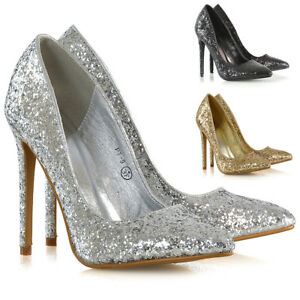 Womens-Stiletto-High-Heel-Court-Shoes-Ladies-Glitter-Slip-On-Pumps-Size-3-8