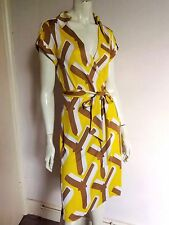 DIANE von FURSTENBERG ~ Vintage 100% SILK Jersey Yellow & Caramel Wrap Dress 10