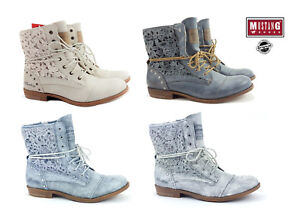 731cd675cf332 New Mustang Women s Boots Shoes Summer Lace-up Boots Ankle Boots ...