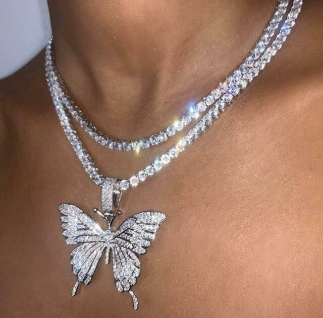 bling iced tennis butterfly butterfly necklace cz tennis butterfly necklace PINK butterfly tennis choker