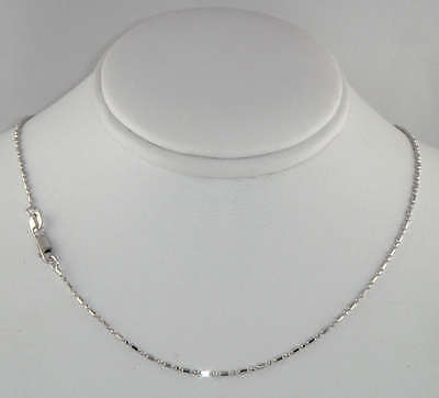 14kt 20 White Gold 1.2mm Diamond Cut Bar+Bead Pendant Chain with Lobster Clasp