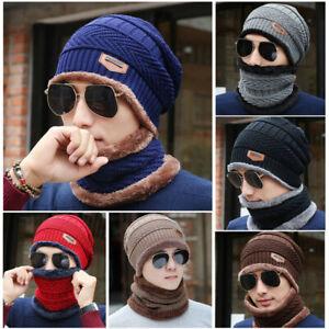 Fashion-New-Men-Crochet-Knit-Beanie-Wool-Skull-Hat-Cap-Scarf-Set-Winter-Warm
