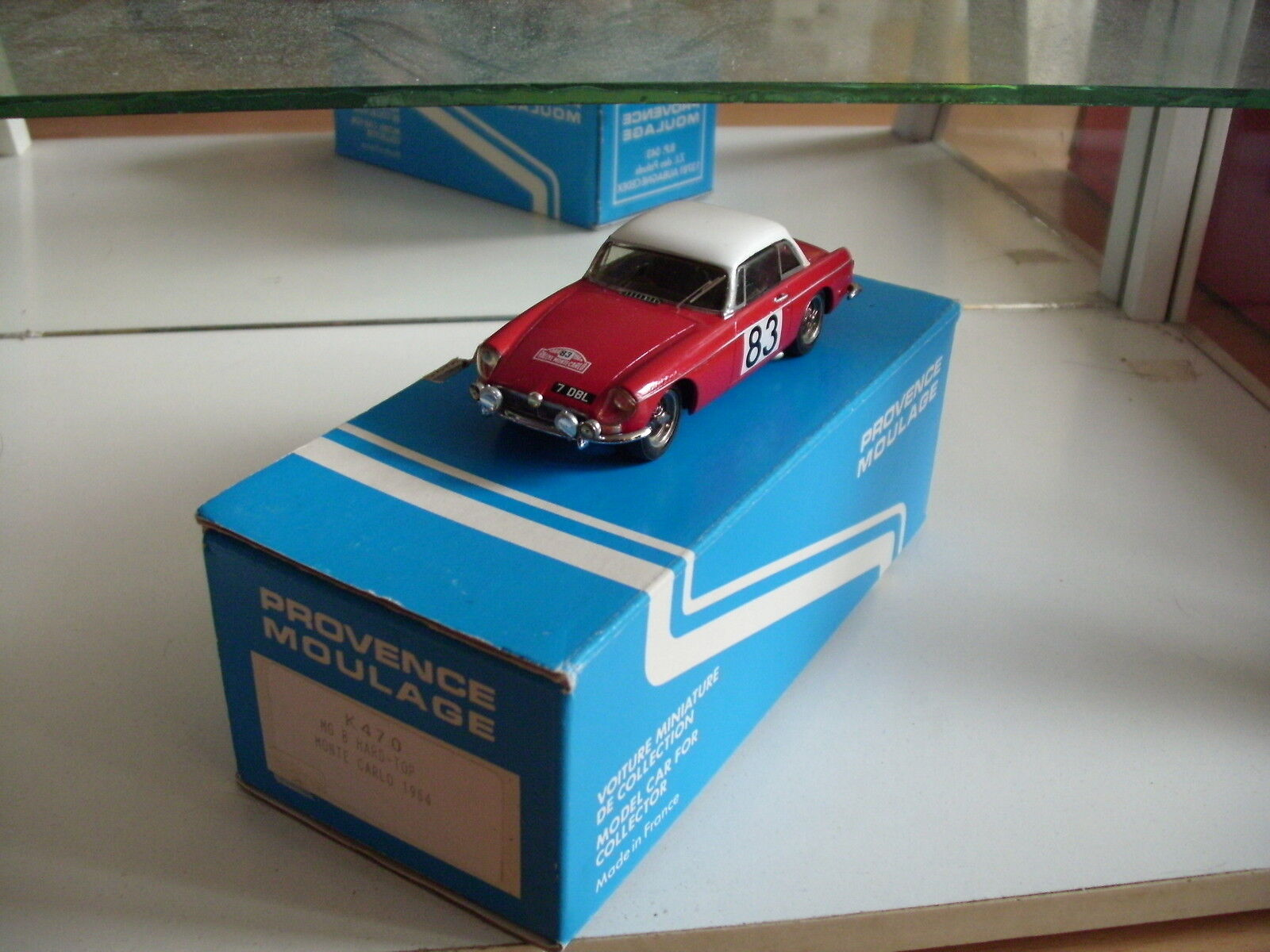 Hand Built Model Provence Moulage MG B Hard Top Monte Carlo 1964 in rouge on 1 43