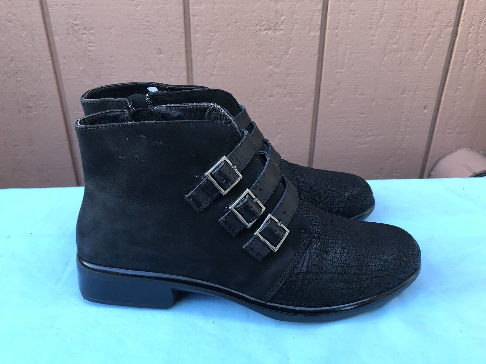 RARE Naot Women's Vardar 38 US 7-7.5 Ankle Boots Straps Bootie Black Leather A6