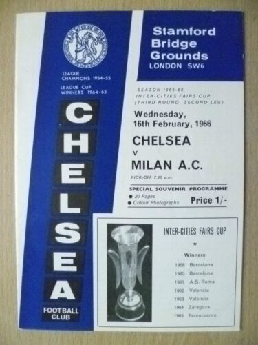1966 Inter Cities Fairs Cup 3rd RD 2nd Leg CHELSEA v A. C. MILAN, 16 Feb