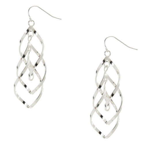 "Claire/'s Girl/'s Silver 3/"" Double Swirl Drop Earrings"