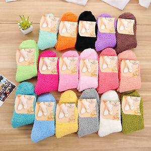 women-girl-winter-warm-Thicken-Coral-Fleece-Fluffy-sleep-bed-solid-color-socks